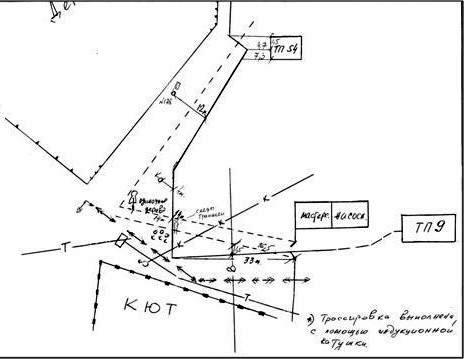 Рис. 6. Пример технического документа, показывающего местоположение трансформаторных подстанций и трассировку кабельной линии.