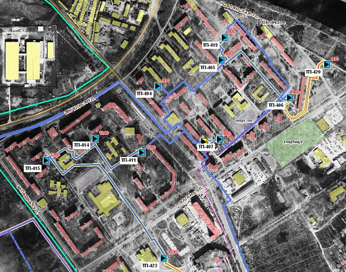 Рис. 8. Распределительная сеть в одном из районов г. Воскресенска.